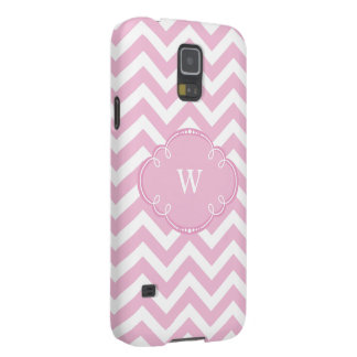 Pink Chevron with Monogram Cases For Galaxy S5