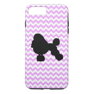Pink Chevron With Poodle Silhouette iPhone 7 Plus Case