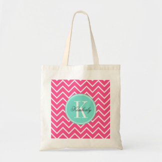 Pink Chevron with Turquoise Monogram Budget Tote Bag
