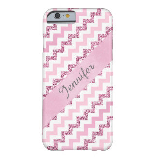 Pink Chevron Zigzag Glitter Monogram iPhone 6 Case