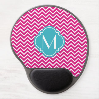 Pink Chevron Zigzag Stripes with Monogram Gel Mouse Pad