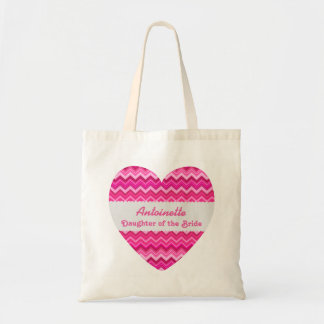 Pink Chevrons Daughter of the Bride Custom Name Tote Bag