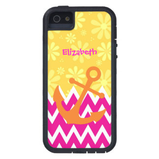 Pink Chevrons With Anchor Tough Xtreme iPhone 5 Case