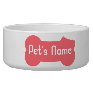 Pink Chewed Bone Personalized Dog Bowl 5