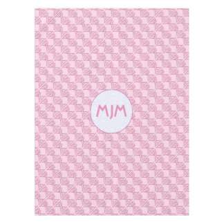 Pink Chi Ro Cross on Pink and Initials Tablecloth