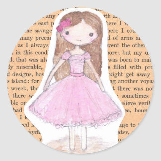 Pink Chibi Ballerina Watercolor Girl Party Sticker