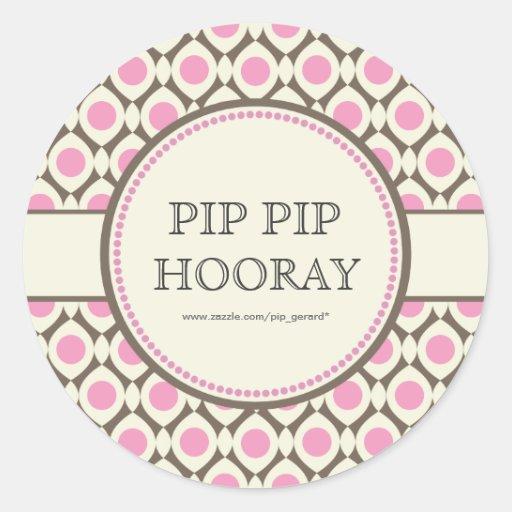 Pink Chic Bridal Shower Dessert Table Tag Label Round Sticker