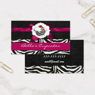 pink chic cupcake business Cards