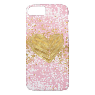 Pink Chic Sparkly Gold Heart Confetti iPhone 8/7 Case