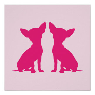 Pink Chihuahua dog cute poster, gift idea Poster