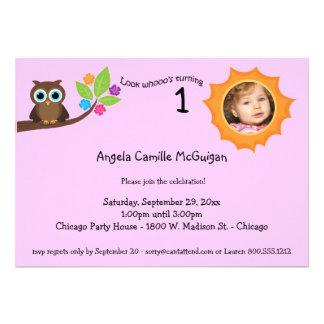 Pink Children s Birthday Party Owl Photo Invite