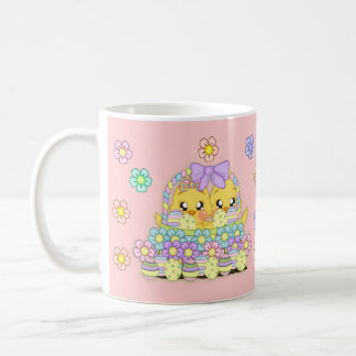 Pink Child's Easter Gift Mug With Chicks In Basket