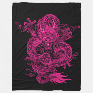 Pink Chinese Emperor Dragon Fleece Blanket