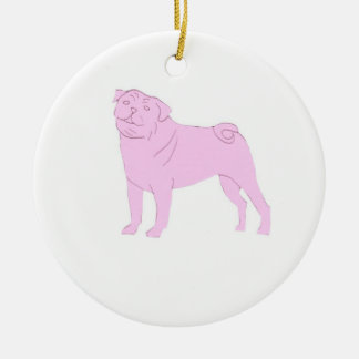 Pink Chinese Pug Ornament