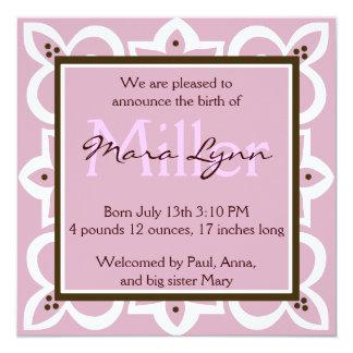 "Pink, Chocolate and White Invitation 5.25"" Square Invitation Card"