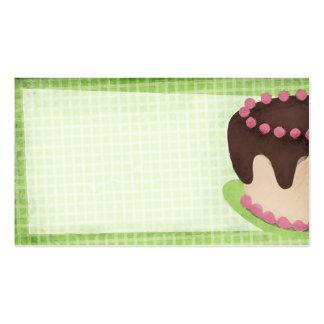 pink chocolate cake baking business card