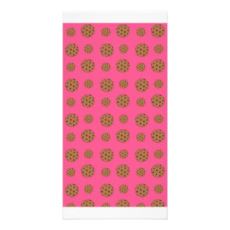 Pink chocolate chip cookies pattern picture card