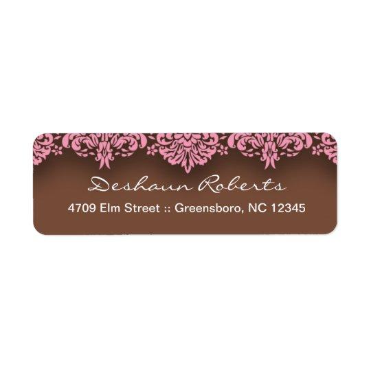 Pink & Chocolate Damask Address Labels