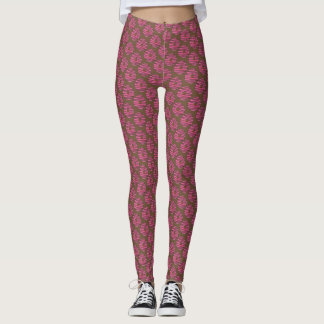 Pink Chocolate Strawberry Frosted Donut Doughnut Leggings