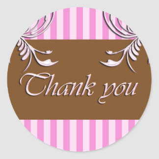 pink/chocolate Thank you sticker