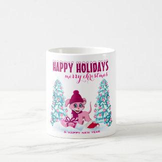 Pink Christmas Adorable Puppy Cartoon Coffee Mug