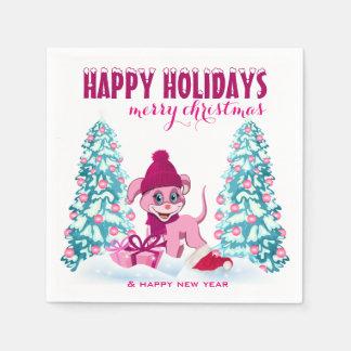 Pink Christmas Adorable Puppy Cartoon Disposable Napkin