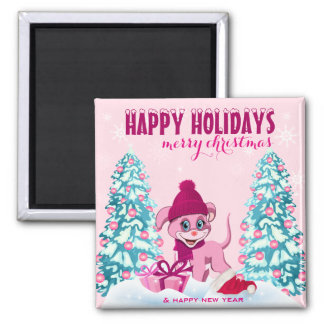 Pink Christmas Adorable Puppy Cartoon Magnet