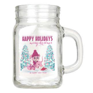 Pink Christmas Adorable Puppy Cartoon Mason Jar