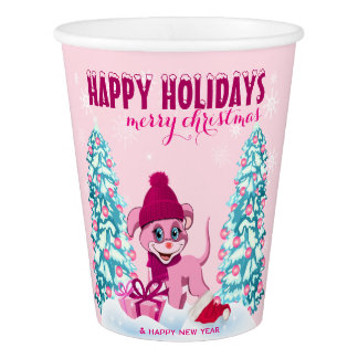 Pink Christmas Adorable Puppy Cartoon Paper Cup