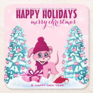 Pink Christmas Adorable Puppy Cartoon Square Paper Coaster
