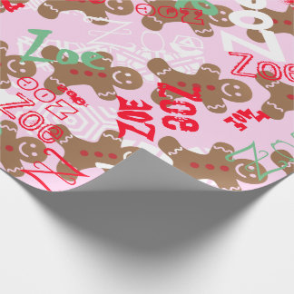 Pink Christmas Gingerbread Gift Wrap Name Changing