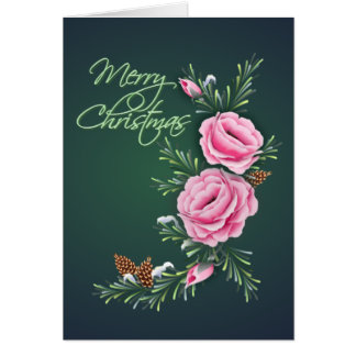 PINK CHRISTMAS ROSES & PINE by SHARON SHARPE Card