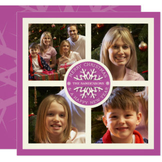 Pink Christmas Snowflake Photo Card with 4 Photos 13 Cm X 13 Cm Square Invitation Card