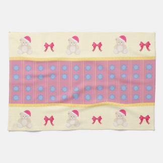 Pink Christmas Teddy Kitchen Towel