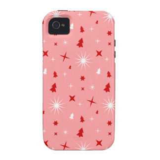 Pink Christmas Theme White Red Trees Stars Lg Case-Mate iPhone 4 Cases