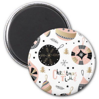 Pink Christmas Time Ornament Pattern 6 Cm Round Magnet