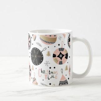 Pink Christmas Time Ornament Pattern Coffee Mug