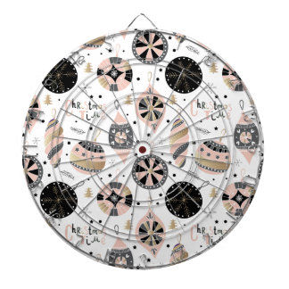 Pink Christmas Time Ornament Pattern Dartboard With Darts