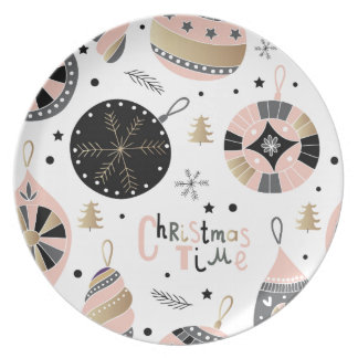 Pink Christmas Time Ornament Pattern Dinner Plate
