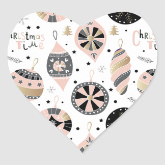 Pink Christmas Time Ornament Pattern Heart Sticker