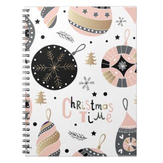 Pink Christmas Time Ornament Pattern Spiral Notebook