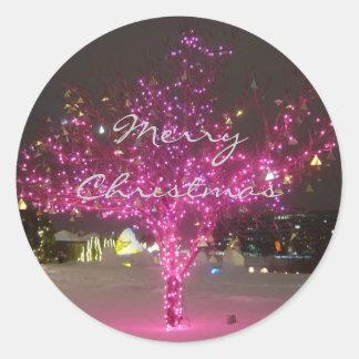 Pink Christmas Tree Classic Round Sticker
