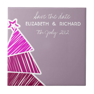 Pink Christmas Tree Save the date Tile