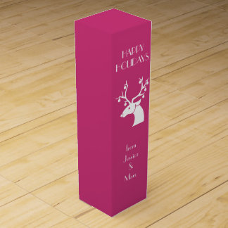 Pink Christmas White Reindeer Personalized Message Wine Gift Box
