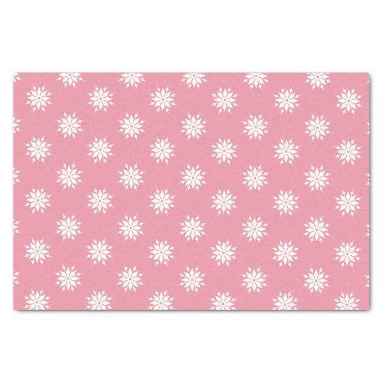 Pink Christmas white snowflakes Tissue Paper