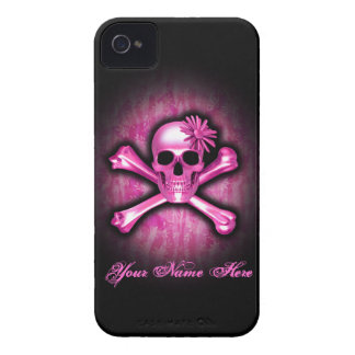 Pink Chrome Skull and Crossbones iPhone 4 Case