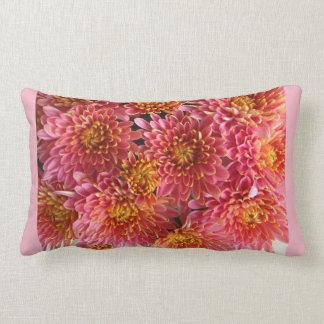 pink chrysanthemum cluster in garden lumbar cushion