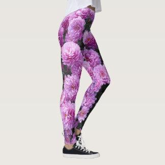 Pink Chrysanthemum Flowers Leggings