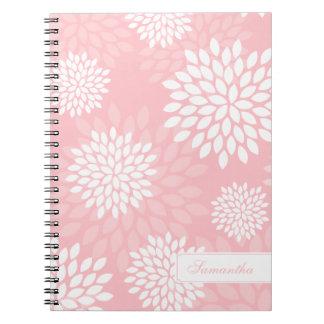 Pink Chrysanthemums Floral Pattern Spiral Note Books