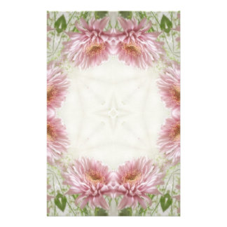 Pink Chrysanthemums Kaleidoscope Art 9 Stationery